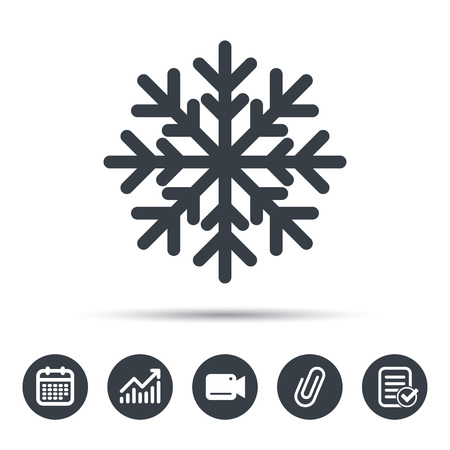 attached: Snowflake icon. Air conditioning symbol. Calendar, chart and checklist signs. Video camera and attach clip web icons. Vector Illustration