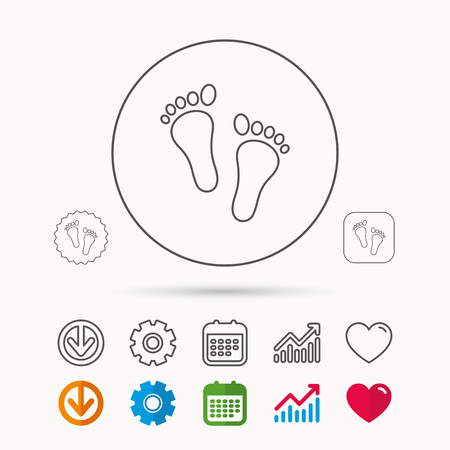 Baby Footprints Icon Child Feet Sign Newborn Steps Symbol