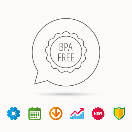 quality guarantee: BPA free icon. Bisphenol plastic sign. Calendar, Graph chart and Cogwheel signs. Download and Shield web icons. Vector