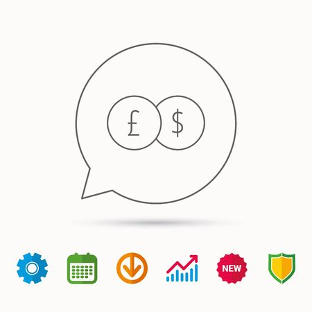 gearwheels: Currency exchange icon. Banking transfer sign. Pound to Dollar symbol. Calendar, Graph chart and Cogwheel signs. Download and Shield web icons. Vector