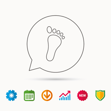 gearwheels: Baby footprint icon. Child foot sign. Newborn step symbol. Calendar, Graph chart and Cogwheel signs. Download and Shield web icons. Vector Illustration