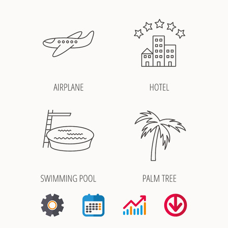 five star: Swimming pool, airplane and palm tree icons. Hotel linear sign. Calendar, Graph chart and Cogwheel signs. Download colored web icon. Vector Illustration