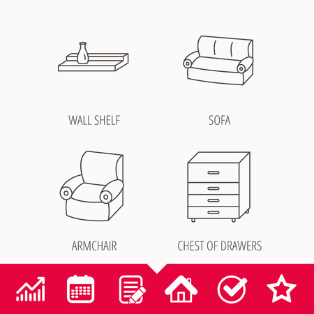 cosy: Sofa, wall shelf and armchair icons. Chest of drawers linear sign. Edit document, Calendar and Graph chart signs. Star, Check and House web icons. Vector Illustration