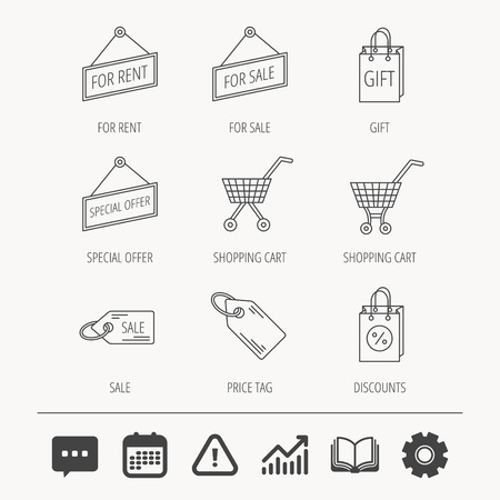 Shopping cart, gift bag and sale coupon icons. Special offer label linear signs. Discount icon. Education book, Graph chart and Chat signs. Attention, Calendar and Cogwheel web icons. Vector