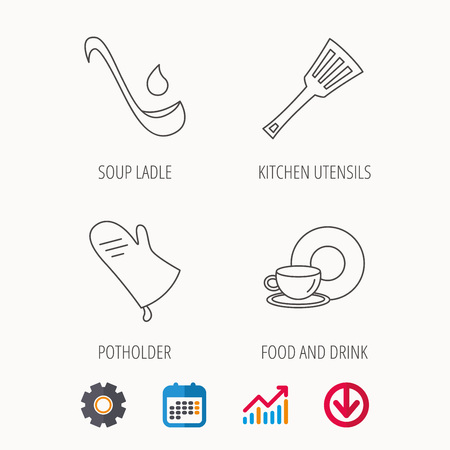 Soup ladle, potholder and kitchen utensils icons. Food and drink linear signs. Calendar, Graph chart and Cogwheel signs. Download colored web icon. Vector Illustration