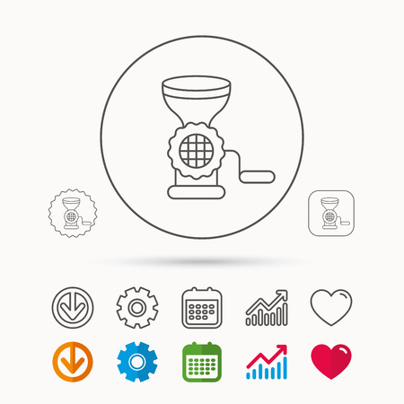 Meat grinder icon. Manual mincer sign. Kitchen tool symbol. Calendar, Graph chart and Cogwheel signs. Download and Heart love linear web icons. Vector