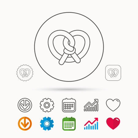 Pretzel icon. Bakery food sign. Traditional bavaria snack symbol. Calendar, Graph chart and Cogwheel signs. Download and Heart love linear web icons. Vector