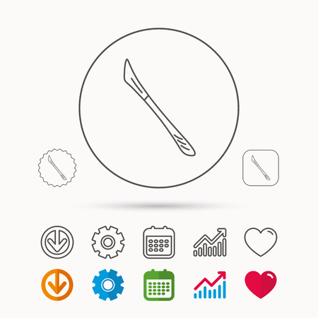 Scalpel icon. Surgeon tool sign. Calendar, Graph chart and Cogwheel signs. Download and Heart love linear web icons. Vector Illusztráció