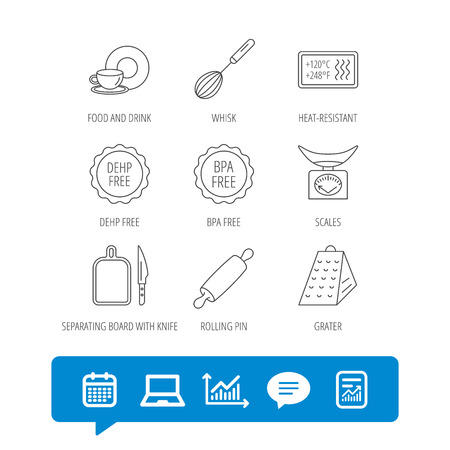 Kitchen scales, whisk and grater icons. Rolling pin, board and knife linear signs. Food and drink, BPA, DEHP free icons. Report file, Graph chart and Chat speech bubble signs. Vector Ilustrace