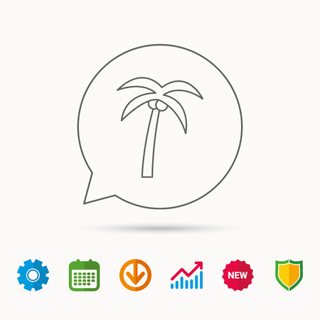 tree logo: Palm tree with coconuts icon. Travel or vacation symbol. Nature environment sign. Calendar, Graph chart and Cogwheel signs. Download and Shield web icons. Vector