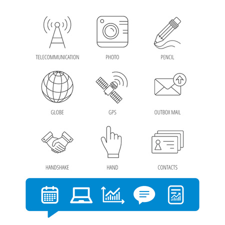 Handshake, contacts and gps satellite icons. Pencil, photo camera and mail linear signs. Telecommunication station flat line icons. Report file, Graph chart and Chat speech bubble signs. Vector