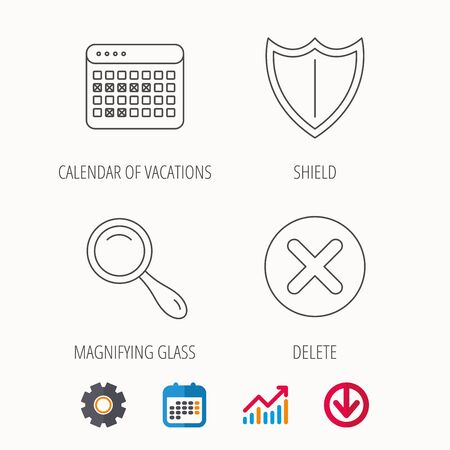 Calendar, magnifying glass and delete icons. Shield linear sign. Calendar, Graph chart and Cogwheel signs. Download colored web icon. Vector