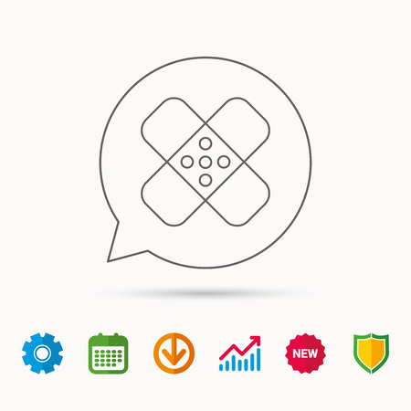Medical plaster icon. Injury fix sign. Calendar, Graph chart and Cogwheel signs. Download and Shield web icons. Vector