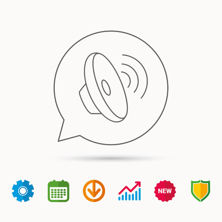 loud speaker: Sound waves icon. Audio speaker sign. Music symbol. Calendar, Graph chart and Cogwheel signs. Download and Shield web icons. Vector Illustration
