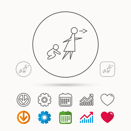 Unattended baby icon. Babysitting care sign. Do not leave your child alone symbol. Calendar, Graph chart and Cogwheel signs. Download and Heart love linear web icons. Vector Illusztráció
