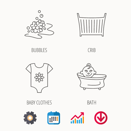 Baby clothes, bath and crib icons. Bath bubbles linear sign. Calendar, Graph chart and Cogwheel signs. Download colored web icon. Vector
