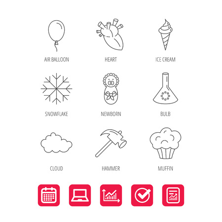Newborn, heart and lab bulb icons. Ice cream, muffin and air balloon linear signs. Cloud and snowflake flat line icons. Report document, Graph chart and Calendar signs. Laptop and Check web icons