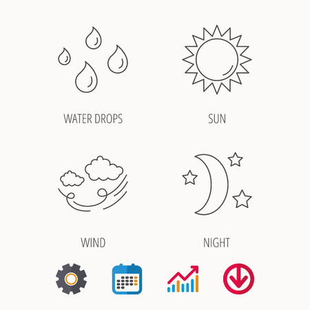 Weather, sun and wind icons. Moon night linear sign. Calendar, Graph chart and Cogwheel signs. Download colored web icon. Vector