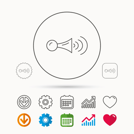 Klaxon signal icon. Car horn sign. Calendar, Graph chart and Cogwheel signs. Download and Heart love linear web icons. Vector Illustration