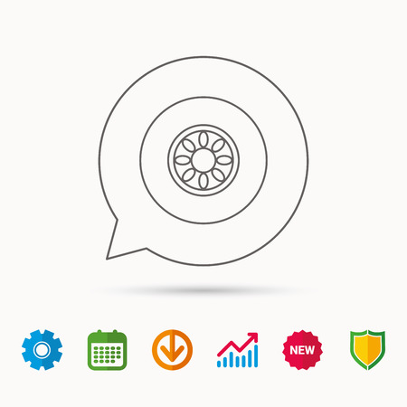 rim: Car wheel icon. Automobile service sign. Calendar, Graph chart and Cogwheel signs. Download and Shield web icons. Vector Illustration