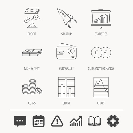 yen: Profit investment, cash money and startup rocket icons. Wallet, currency exchange and euro linear signs. Chart, coins and statistics icons. Education book, Graph chart and Chat signs. Vector