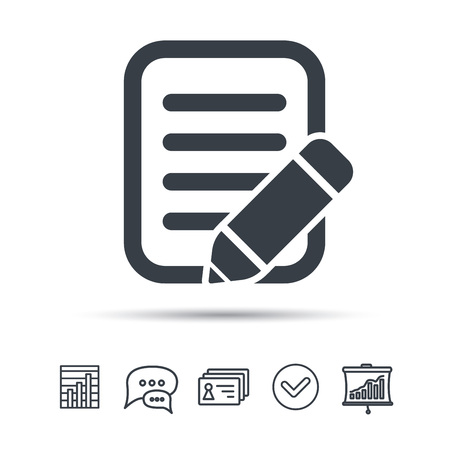 bubble pen: Edit icon. Pencil for drawing symbol. Chat speech bubble, chart and presentation signs. Contacts and tick web icons. Vector Illustration