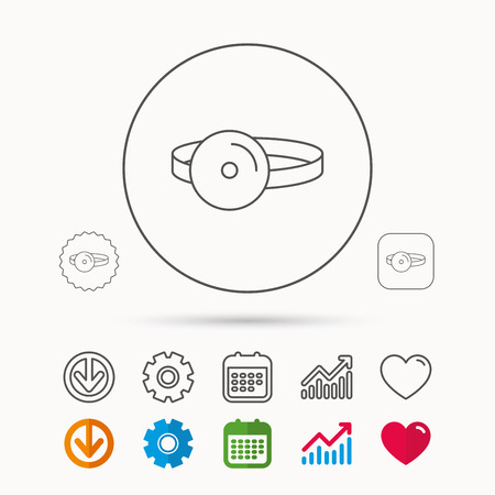 ENT: Medical mirror icon. ORL medicine sign. Otorhinolaryngology diagnosis tool symbol. Calendar, Graph chart and Cogwheel signs. Download and Heart love linear web icons. Vector Illustration