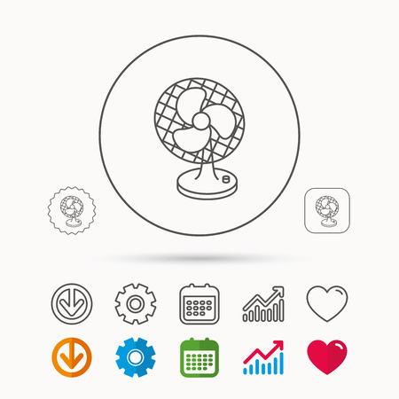 Ventilator icon. Fan or propeller sign. Calendar, Graph chart and Cogwheel signs. Download and Heart love linear web icons. Vector