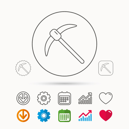 A Mining tool icon. Pickaxe equipment sign. Minerals industry symbol. Calendar, Graph chart and Cogwheel signs. Download and Heart love linear web icons. Vector Illustration