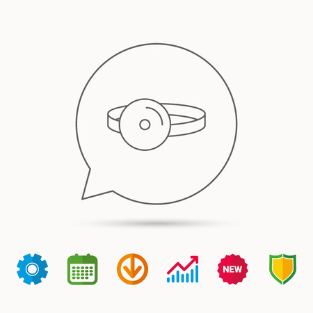 Medical mirror icon. ORL medicine sign. Otorhinolaryngology diagnosis tool symbol. Calendar, Graph chart and Cogwheel signs. Download and Shield web icons. Vector
