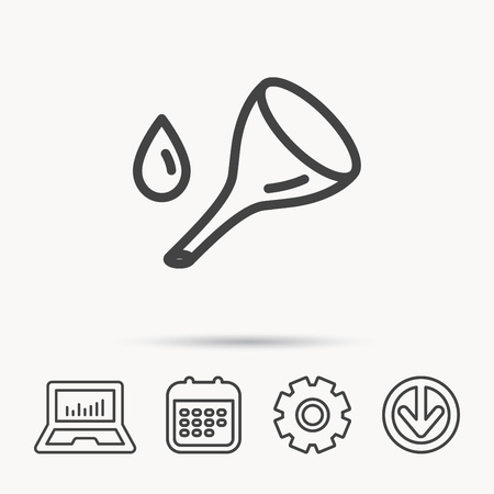 oil change: Oil change service icon. Fuel can with drop sign. Notebook, Calendar and Cogwheel signs. Download arrow web icon. Vector