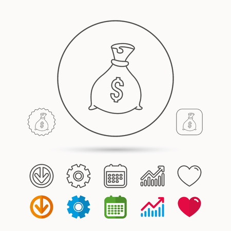 Sack with dollars icon. Money bag sign. Banking symbol. Calendar, Graph chart and Cogwheel signs. Download and Heart love linear web icons. Vector