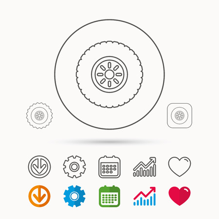 flaring: Car wheel icon. Tire service sign. Calendar, Graph chart and Cogwheel signs. Download and Heart love linear web icons. Vector Illustration