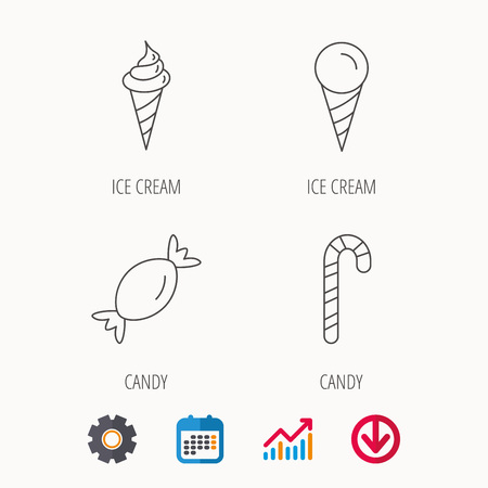 lollies: Ice cream, candy icons. Sweets linear sign. Calendar, Graph chart and Cogwheel signs. Download colored web icon. Vector