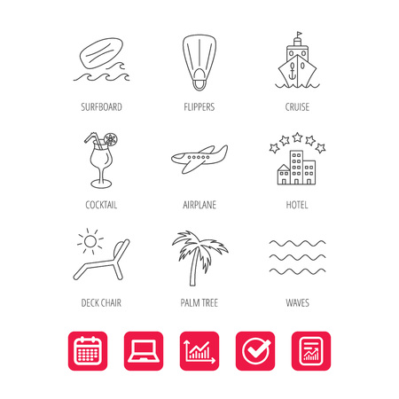 tree logo: Cruise, waves and cocktail icons. Hotel, palm tree and surfboard linear signs. Airplane, deck chair and flippers flat line icons. Report document, Graph chart and Calendar signs. Vector Illustration