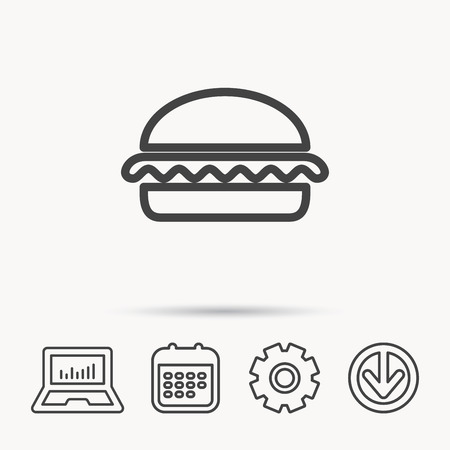 vegetarian hamburger: Vegetarian burger icon. Healthy fast food sign. Burger symbol. Notebook, Calendar and Cogwheel signs. Download arrow web icon. Vector
