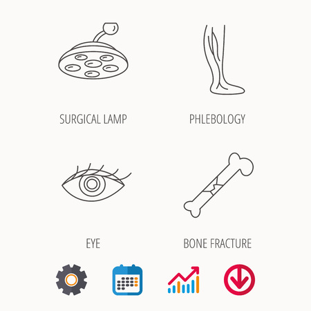 Eye, bone fracture and vein varicose icons. Surgical lamp linear sign. Calendar, Graph chart and Cogwheel signs. Download colored web icon. Vector Illustration