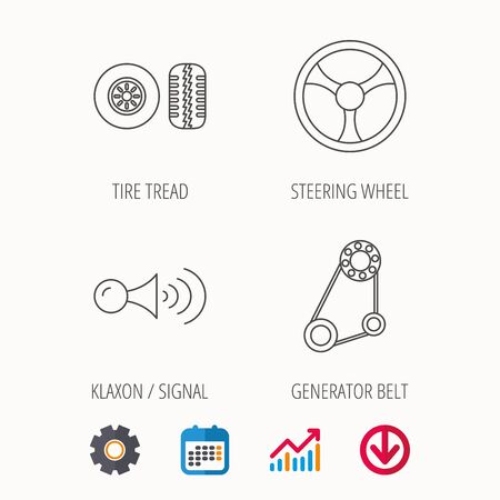 tread: Klaxon signal, tire tread and steering wheel icons. Generator belt linear sign. Calendar, Graph chart and Cogwheel signs. Download colored web icon. Vector Illustration