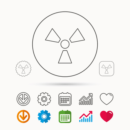 radioactive sign: Radiation icon. Radiology sign. Calendar, Graph chart and Cogwheel signs. Download and Heart love linear web icons. Vector