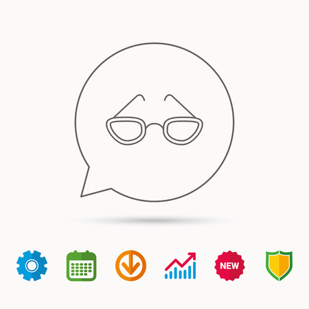 eyewear: Glasses icon. Reading accessory sign. Calendar, Graph chart and Cogwheel signs. Download and Shield web icons. Vector