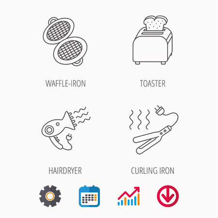 prepare: Curling iron, hair-dryer and toaster icons. Waffle-iron linear sign. Calendar, Graph chart and Cogwheel signs. Download colored web icon. Vector Illustration