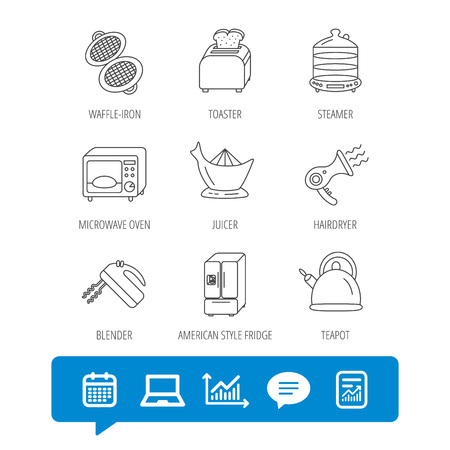 Microwave oven, teapot and blender icons. Refrigerator fridge, juicer and toaster linear signs. Hair dryer, steamer and waffle-iron icons. Report file, Graph chart and Chat speech bubble signs Illustration