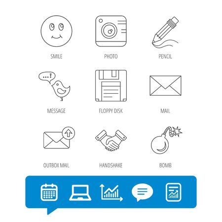 Photo camera, pencil and handshake icons. Inbox e-mail, message speech bubble and smile linear signs. Report file, Graph chart and Chat speech bubble signs. Laptop and Calendar web icons. Vector Illustration