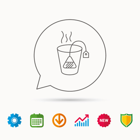 stimulant: Tea bag icon. Natural hot drink sign. Breakfast beverage symbol. Calendar, Graph chart and Cogwheel signs. Download and Shield web icons. Vector Illustration