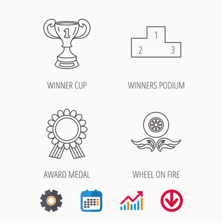 Winner cup, podium and award medal icons. Race symbol, wheel on fire linear signs. Calendar, Graph chart and Cogwheel signs. Download colored web icon. Vector