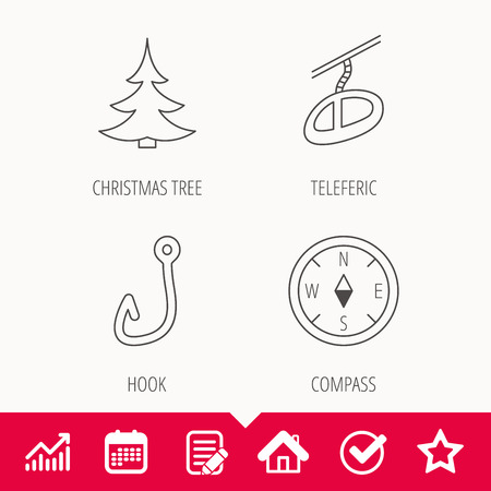 tree logo: Fishing hook, teleferic and compass icons. Christmas tree linear sign. Edit document, Calendar and Graph chart signs. Star, Check and House web icons. Vector