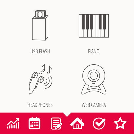 electronic music: Headphones, web camera and USB flash icons. Piano linear sign. Edit document, Calendar and Graph chart signs. Star, Check and House web icons. Vector