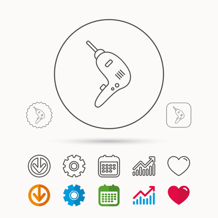 Drill tool icon. Electric jack-hammer sign. Calendar, Graph chart and Cogwheel signs. Download and Heart love linear web icons. Vector