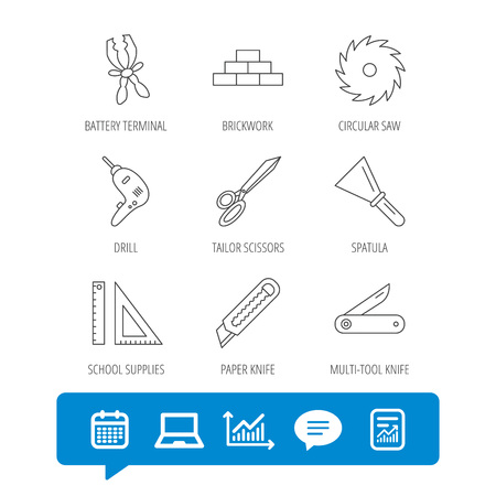 Paper knife, spatula and scissors icons. Circular saw, brickwork and drill tool linear signs. Multi-tool knife, rulers icons. Report file, Graph chart and Chat speech bubble signs. Vector