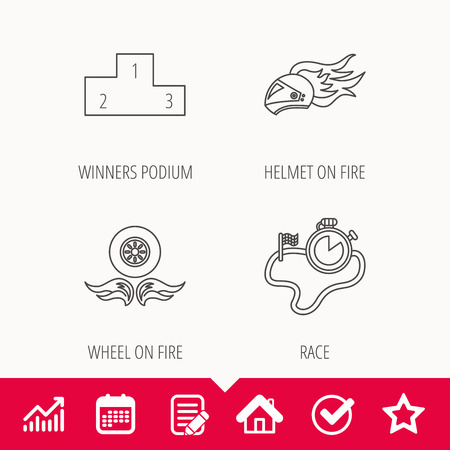 Winner podium, race timer and wheel on fire icons. Motorcycle helmet on fire linear sign. Edit document, Calendar and Graph chart signs. Star, Check and House web icons. Vector Illustration